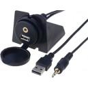 Predlžovací USB+jack 3,5mm kábel